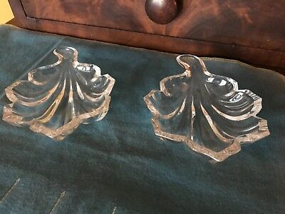 Two Vintage BACCARAT French France Crystal Leaf Nut candy Dish  # BCC20075
