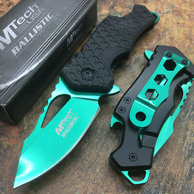 "MTECH USA 2.75"" 3MM Thick Green Blade Bottle Opener Small Pink Pocket Knife"