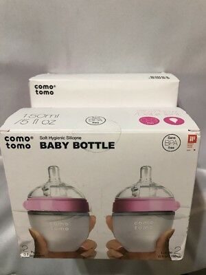 4 Comotomo Pink Silicone Baby Bottle 8oz & 5oz w/Slow & Med Flow Nipples NIB