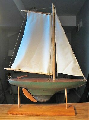 Antique vintage nautical maritime pond toy sail boat ship, 20 x 27 inches
