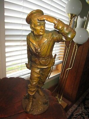 French Sailor Statue By Le Bayard In Style Of Anfries Circa 1905 17 In Spelter