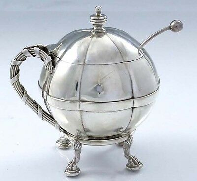 GORHAM Sterling Pumpkin Shape Mustard Pot with Hoof Feet