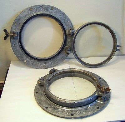 Pair of 2 Antique Wilcox Crittenden Iron Portholes #8 Hinged Nautical Salvage