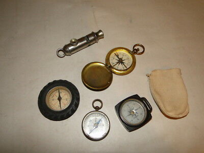 Vintage Compass Lot Bakelite Showay US Army Tire Whistle Beveled glass Germany
