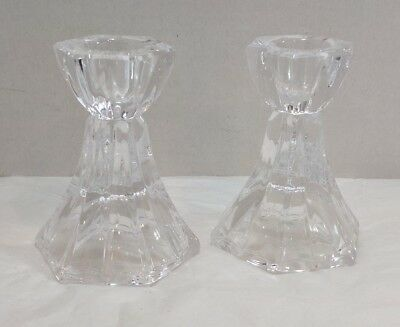 Mikasa Pair Linear Crystal Glass Candleholders 3.5 inches