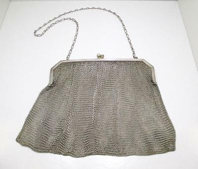 Delicate Antique Art Deco925 Sterling Silver Mesh Chain Purse Clutch Evening Bag