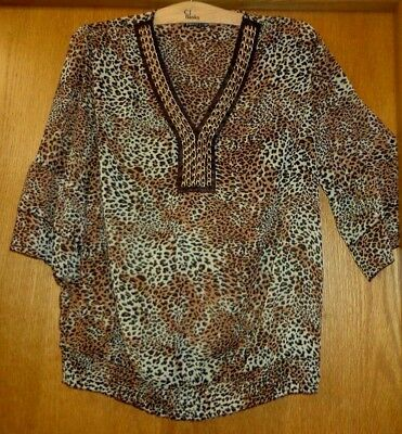 Woman's size 2X - Leopard Print TOP - JMS - Sheer crinkle - Shirred  bottom