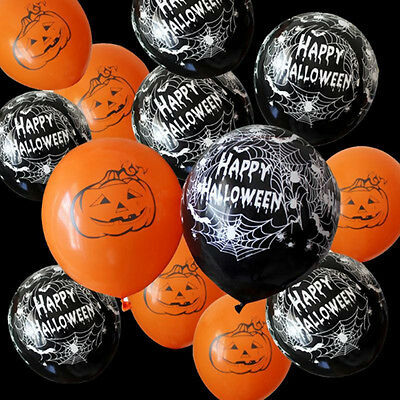 LC_ 10Pcs Pumpkin Spiderweb Balloons for Halloween Decoration Party Supplies N