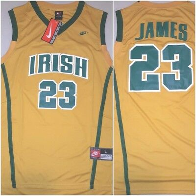 new arrival 151c5 d3002 THROWBACK LEBRON JAMES SVSM Irish High School Gold LRG Basketball Mens  Jersey