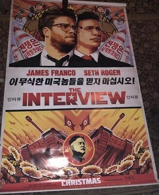 The Interview Vinyl Movie Banner/Poster 90x60  never used near mint small indent
