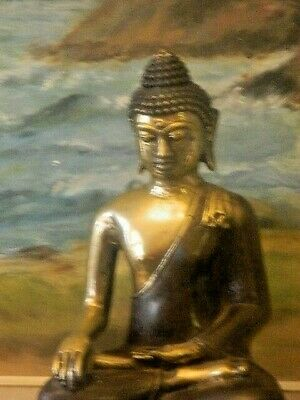 Home Decor Buddha Solid Bronze Statue On Stand Excellent Workman Ship
