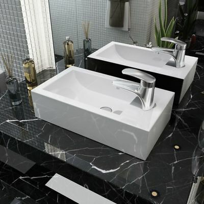 vidaXL Bathroom Countertop Basin Sink with Faucet Hole Rectangular Ceramic White