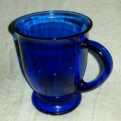 Anchor Hocking Blue Cobalt Footed Pedestal Coffee Cup/Mug Glass
