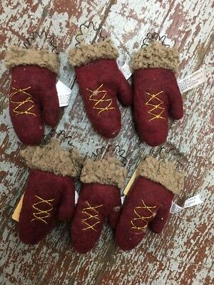 6 Primitive Christmas mitten Ornament ornaments bowl filler feather tree Mittens