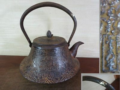 Japanese Antique KANJI old Iron Tea Kettle Tetsubin teapot Chagama 2165