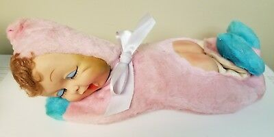 Vintage Rubber Face Baby Doll Sleeping Pajama Bag 1950's Plush Toy Bare Butt