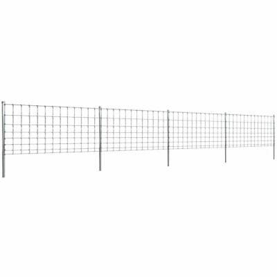 vidaXL Step-In Fence 50m with Post Galvanised Wire Fence 100/8/30 Enclosure