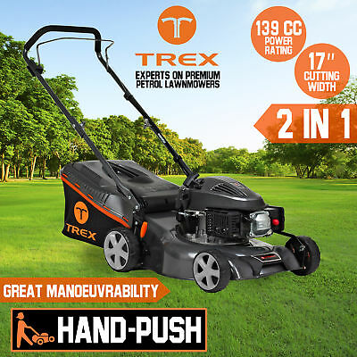 "NEW TREX Lawn Mower Hand Push 139cc 17"" Lawnmower 4 Stroke Catch Mulch 2 in 1"