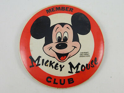 """Vintage Walt Disney Productions Large Mickey Mouse Club Members Button 3.5"""""""
