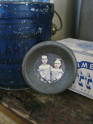 Antique Tin Toy Pie Pan with Old Photo Print Sisters