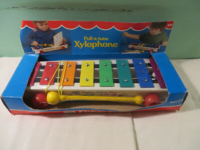 """Vintage Original 1982 Fisher Price Wooden """"PULL-A-TUNE"""" Xylophone Toy #870 LOOK!"""