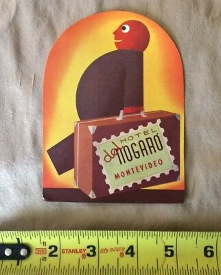Vintage Luggage Label Sticker decal Hotel Del Nogaró Montevideo MNG