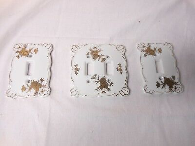 Vintage Hand Painted Gold Porcelain Double & Single Light Switch Plate Cover Set