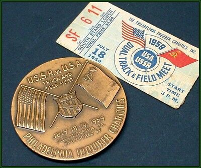 *Scarce* 1959 USSR versus USA dual track and field meet bronze medal!!