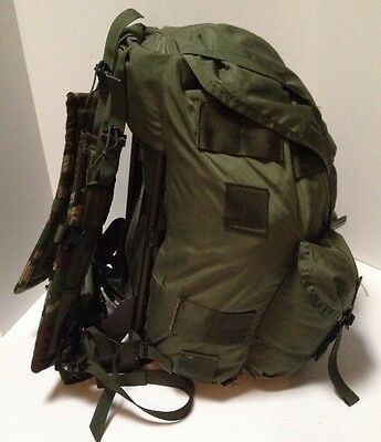Used Large Combat Field Hunting Pack Alice Rucksack OD green,with frame & Straps