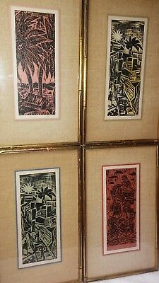 Suite of 4 vintage signed color linocuts, WPA style, all original