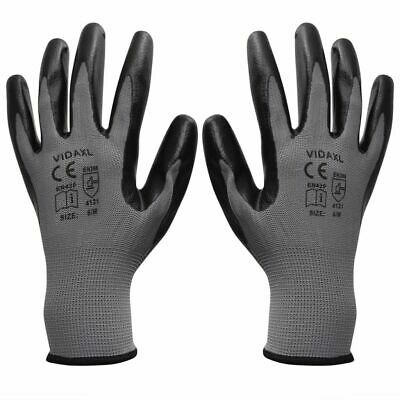 Work Gloves Safety Protection Nylon Nitrile 24 Pairs Grey and Black Size 8/M