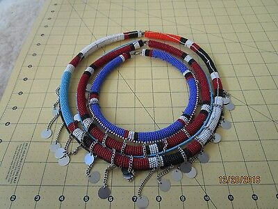 AFRICAN MAASAI MASAI BEADED ETHNIC TRIBAL WEDDING NECKLACE tube d
