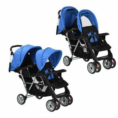 vidaXL Tandem Stroller Steel Blue and Black Child Toddler Pram Pushchair Buggy