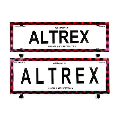 6 figure Number Plate Covers Slimline Standard Combination Red Carbon Fibre with
