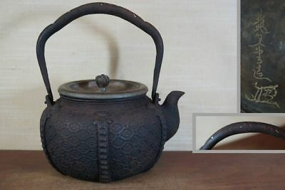 Japanese Antique KANJI old Iron Tea Kettle Tetsubin teapot Chagama 2167