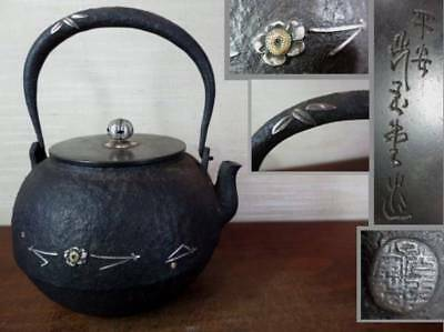 Japanese Antique KANJI old Iron Tea Kettle Tetsubin teapot Chagama 2168