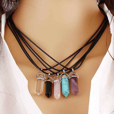 Lc_ Genuine Leather Reiki Chakra Healing Quartz Choker Necklace Pendant Lively