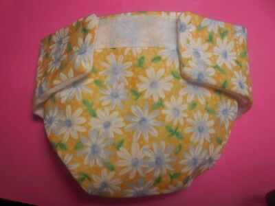 Washable Baby Doll Cloth Diaper Yellow Daisy Fit Bitty Baby Alive Cabbage Patch