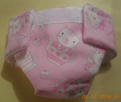 Washable Baby Doll Cloth Diaper Teacup Cat Fits Cabbage Patch  Bitty Baby Alive