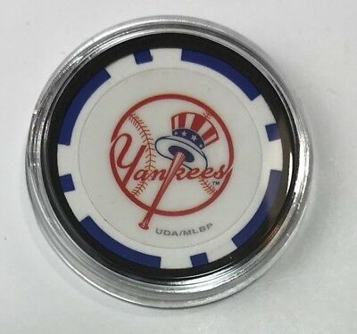 New York Yankees New Encased Poker Chip Texas Holdem Hand Guard Card Protector