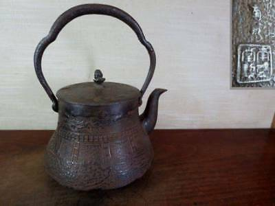 Japanese Antique KANJI old Iron Tea Kettle Tetsubin teapot Chagama 2174