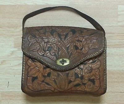 Authentic Vintage  Hand Tooled Leather Purse W/Traditional Flowers Handmade Lula