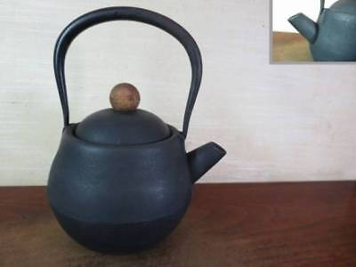 Japanese Antique KANJI old Iron Tea Kettle Tetsubin teapot Chagama 2175