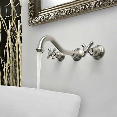 Antique Bathroom Sink Faucet Two Handles Wall Mounted Basin Mixer Tap Brass
