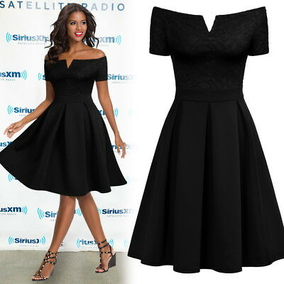 Women's Off Shoulder Retro Short Sleeve Cocktail Wedding Party Black Swing Dress