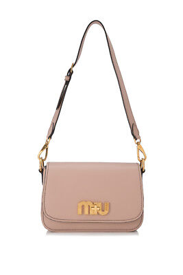 651004a5ef92 MIU MIU CITY Calf Miu Logo Shoulder Bag (Beige