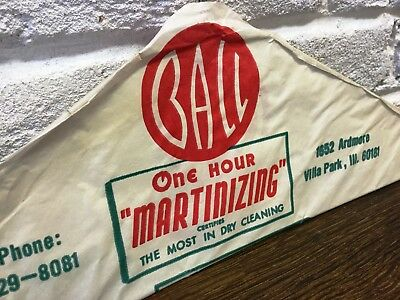 Vintage Advertising USA Dry Cleaning *Ball 1hr Martinizing Paper Covered Hanger*