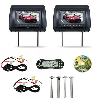 "iMeshbean EP-103 7"" Black Car Headrest Monitors w/DVD Player/USB/HDMI+Games"