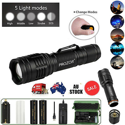 USB Rechargeable CREE Flashlight Torch Zoomable XML T6 Hiking Camping Light