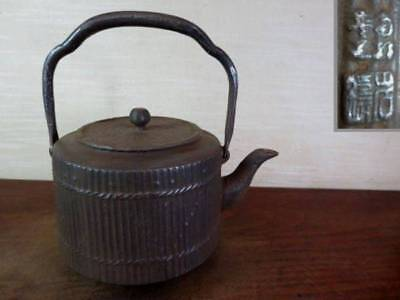 Japanese Antique KANJI old Iron Tea Kettle Tetsubin teapot Chagama 2178